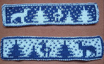 Lesezeichen Rehe im schnee roe deers in the snow double knitting bookmark